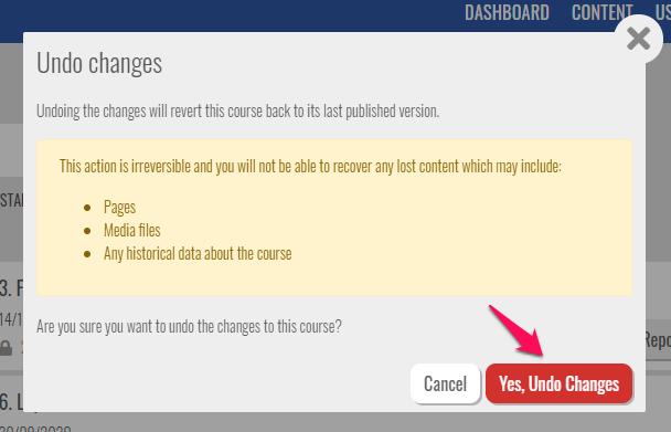 confirm undo changes
