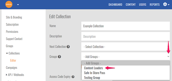 groups in collection settings