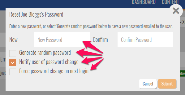 reset password settings